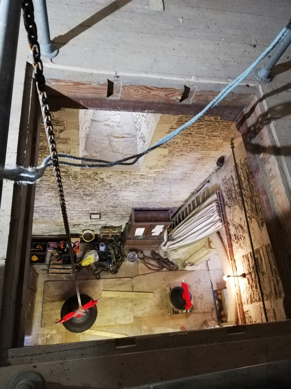 Winching the new bells up through the clock room trapdoor